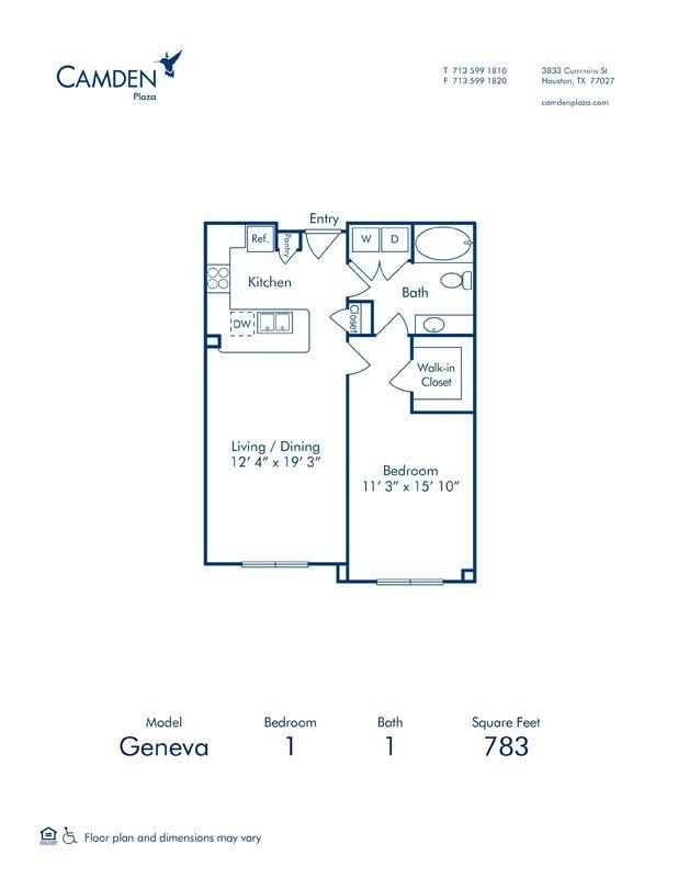 1 Bedroom 1 Bathroom Apartment for rent at Camden Plaza in Houston, TX
