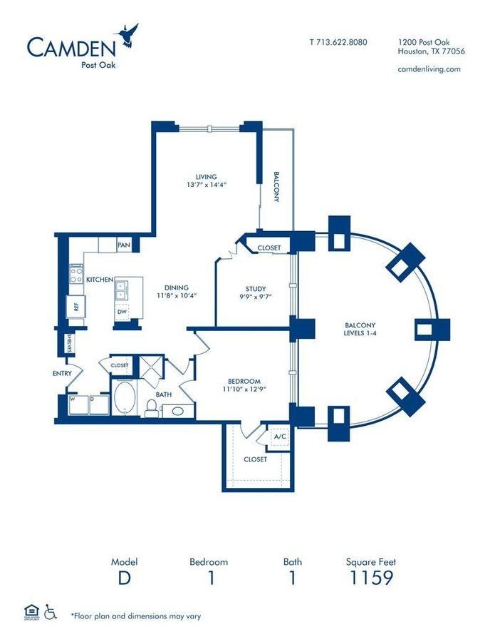 1 Bedroom 1 Bathroom Apartment for rent at Camden Post Oak in Houston, TX