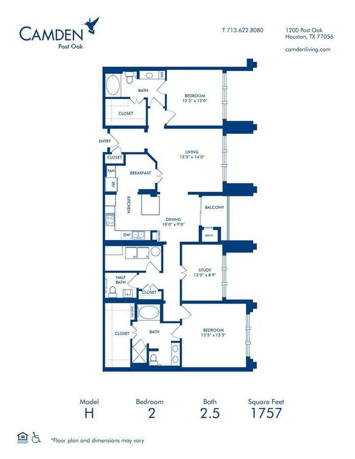 2 Bedrooms 2 Bathrooms Apartment for rent at Camden Post Oak in Houston, TX
