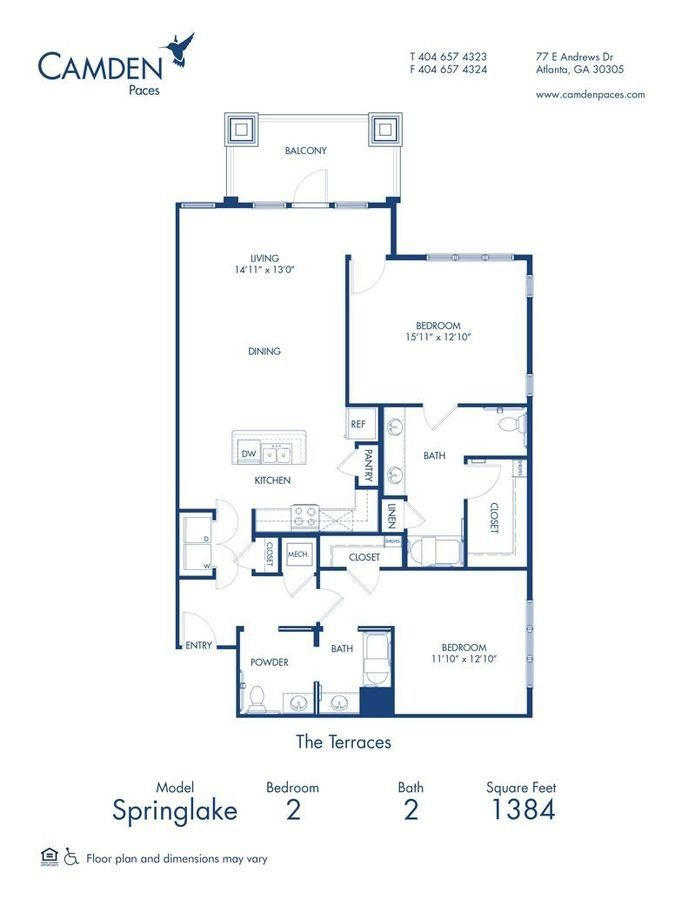2 Bedrooms 2 Bathrooms Apartment for rent at Camden Paces in Atlanta, GA