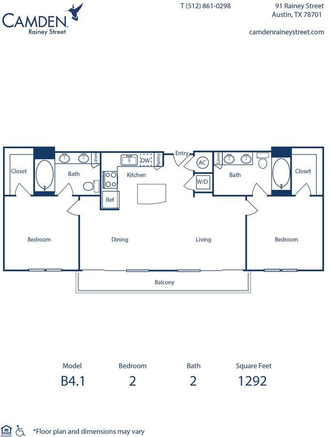 2 Bedrooms 2 Bathrooms Apartment for rent at Camden Rainey Street in Austin, TX