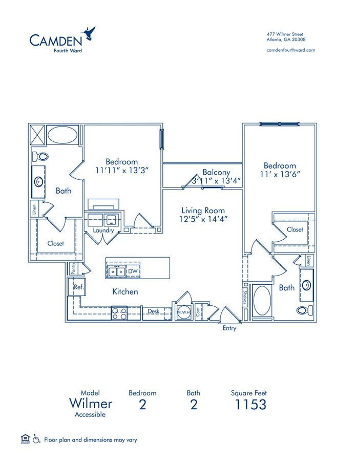 2 Bedrooms 2 Bathrooms Apartment for rent at Camden Fourth Ward in Atlanta, GA