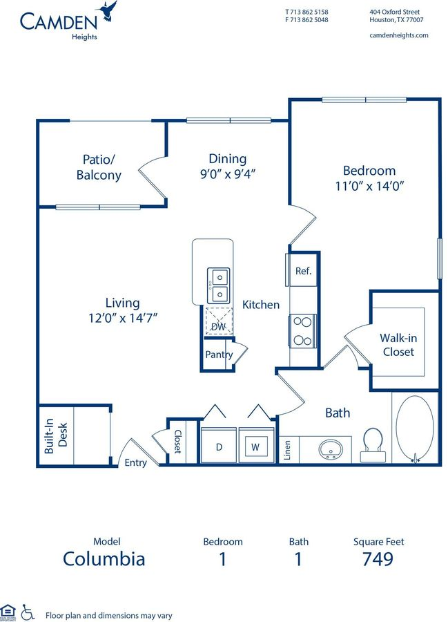 1 Bedroom 1 Bathroom Apartment for rent at Camden Heights in Houston, TX