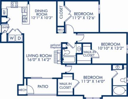 3 Bedrooms 2 Bathrooms Apartment for rent at Camden Largo Town Center in Largo, MD