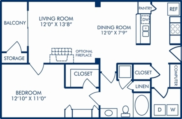 1 Bedroom 1 Bathroom Apartment for rent at Camden Manor Park in Raleigh, NC