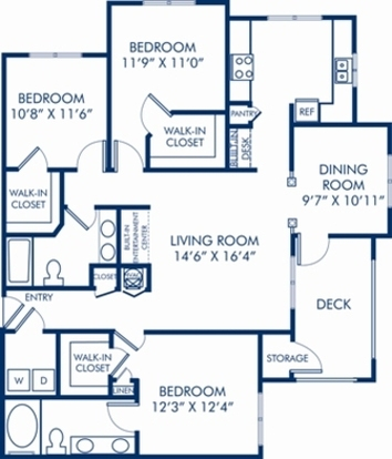 3 Bedrooms 2 Bathrooms Apartment for rent at Camden Stonecrest in Charlotte, NC