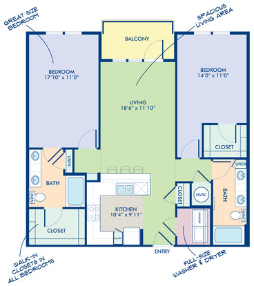 2 Bedrooms 2 Bathrooms Apartment for rent at Camden Southline in Charlotte, NC