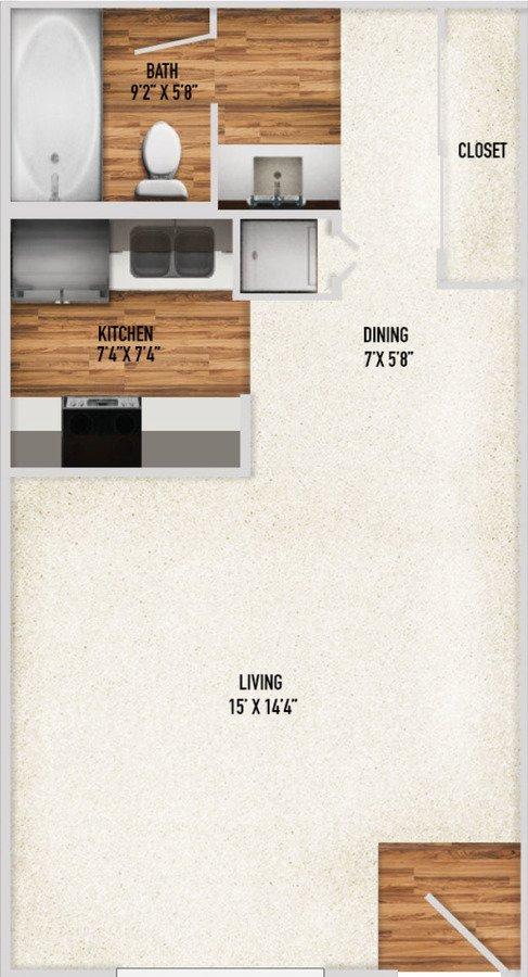 Studio 1 Bathroom Apartment for rent at Treehouse Apartments in Tucson, AZ