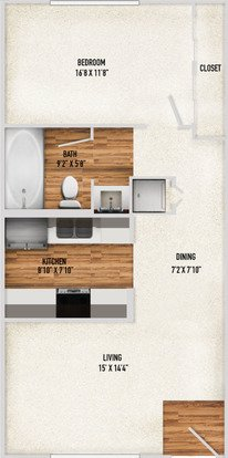 1 Bedroom 1 Bathroom Apartment for rent at Treehouse Apartments in Tucson, AZ