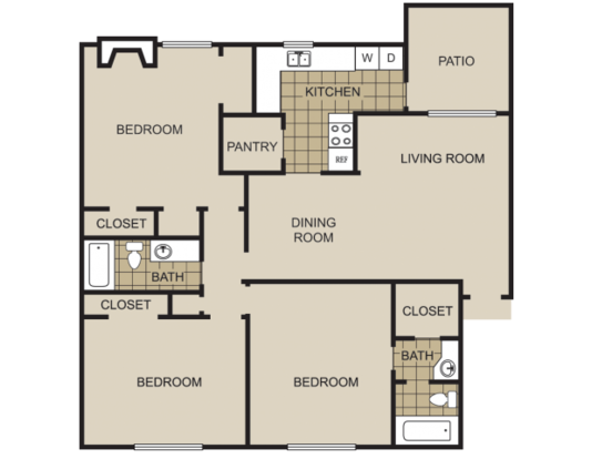 3 Bedrooms 2 Bathrooms Apartment for rent at Lexington On The Green Apartment Homes in Raleigh, NC