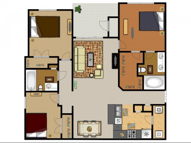 3 Bedrooms 2 Bathrooms Apartment for rent at Arboleda Apartment Homes in Cedar Park, TX