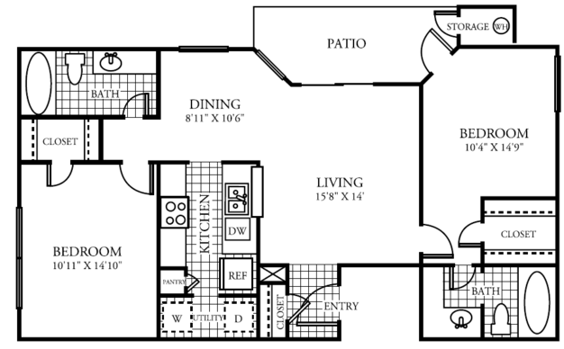 2 Bedrooms 2 Bathrooms Apartment for rent at The Lakes At Renaissance Park in Austin, TX