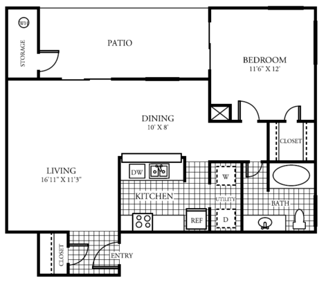 1 Bedroom 1 Bathroom Apartment for rent at The Lakes At Renaissance Park in Austin, TX