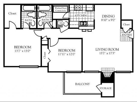 2 Bedrooms 2 Bathrooms Apartment for rent at Nashboro Village in Nashville, TN