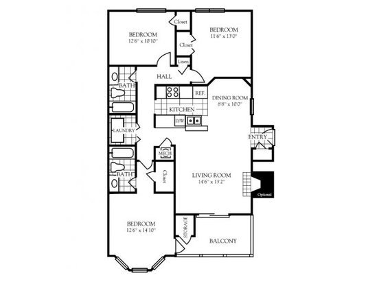 3 Bedrooms 2 Bathrooms Apartment for rent at Nashboro Village in Nashville, TN