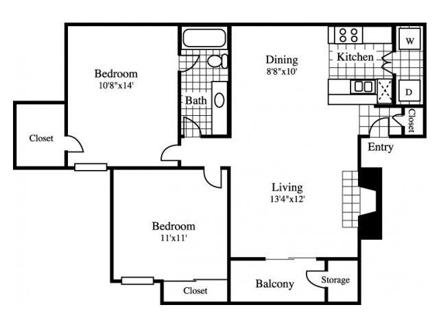 2 Bedrooms 1 Bathroom Apartment for rent at Cinnamon Park in Arlington, TX