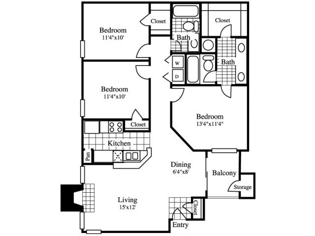 3 Bedrooms 2 Bathrooms Apartment for rent at Cinnamon Park in Arlington, TX