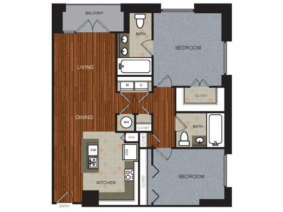 2 Bedrooms 2 Bathrooms Apartment for rent at River View in Austin, TX