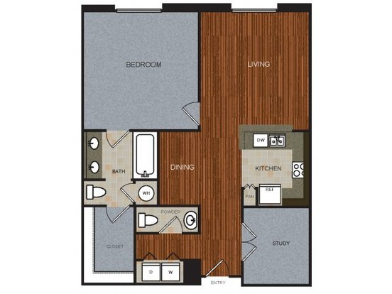 1 Bedroom 1 Bathroom Apartment for rent at River View in Austin, TX