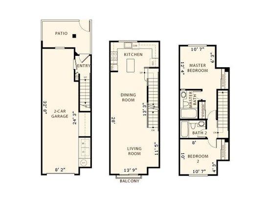 2 Bedrooms 2 Bathrooms Apartment for rent at La Terraza in San Jose, CA