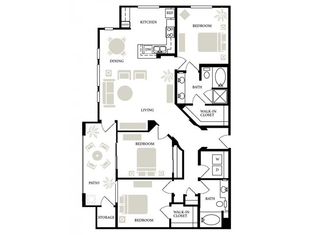 3 Bedrooms 2 Bathrooms Apartment for rent at Fountain Plaza in San Jose, CA