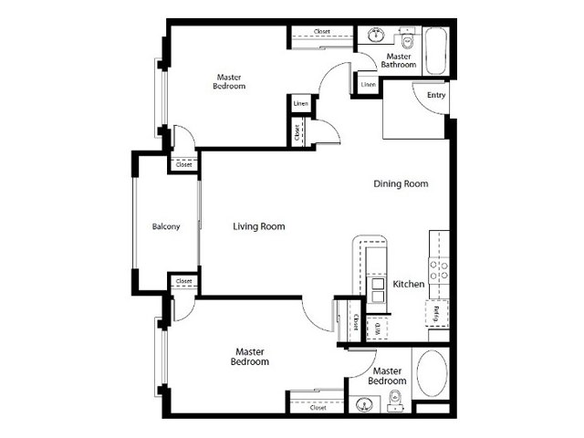 2 Bedrooms 2 Bathrooms Apartment for rent at City Lights On Fig in Los Angeles, CA