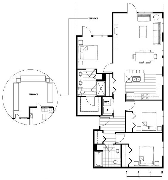 3 Bedrooms 2 Bathrooms Apartment for rent at Axis in Seattle, WA