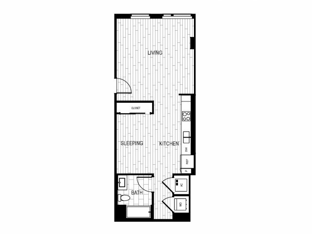 Studio 1 Bathroom Apartment for rent at The Current in Long Beach, CA