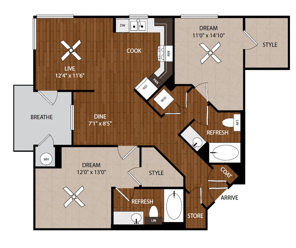 2 Bedrooms 2 Bathrooms Apartment for rent at Jefferson Platinum Triangle in Anaheim, CA