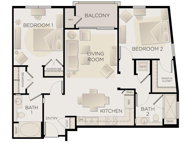 2 Bedrooms 2 Bathrooms Apartment for rent at Tribeca Urban in Marina Del Rey, CA