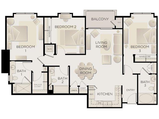 3 Bedrooms 3 Bathrooms Apartment for rent at Tribeca Urban in Marina Del Rey, CA