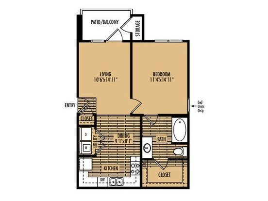 1 Bedroom 1 Bathroom Apartment for rent at Platinum Southside in Austin, TX
