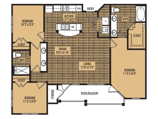 3 Bedrooms 2 Bathrooms Apartment for rent at Platinum Southside in Austin, TX