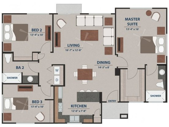 3 Bedrooms 2 Bathrooms Apartment for rent at Avilla Tanque Verde in Tucson, AZ