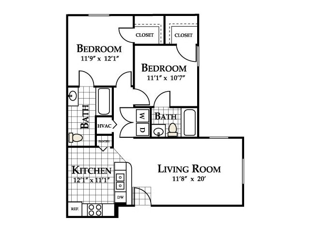 2 Bedrooms 2 Bathrooms Apartment for rent at Deer Meadow Village in Columbia, SC