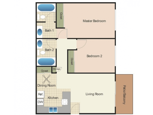 2 Bedrooms 2 Bathrooms Apartment for rent at Elan Village Court in Chula Vista, CA
