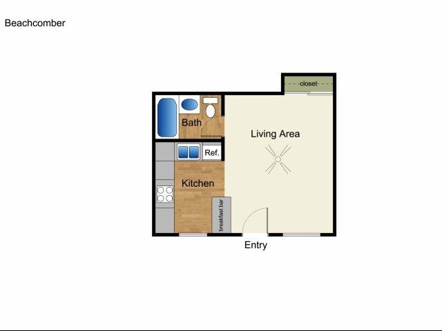 Studio 1 Bathroom Apartment for rent at Elan Beachcomber La Jolla in La Jolla, CA