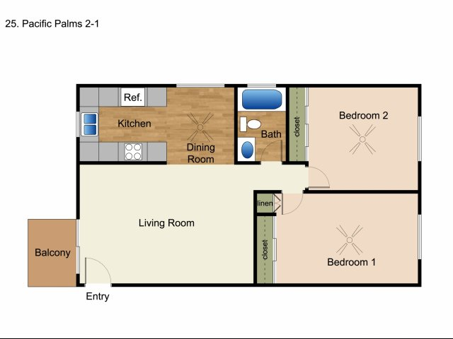 2 Bedrooms 1 Bathroom Apartment for rent at Elan Pacific Palms in San Diego, CA
