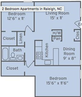 2 Bedrooms 1 Bathroom Apartment for rent at The Villages Of Lake Boone Trail in Raleigh, NC