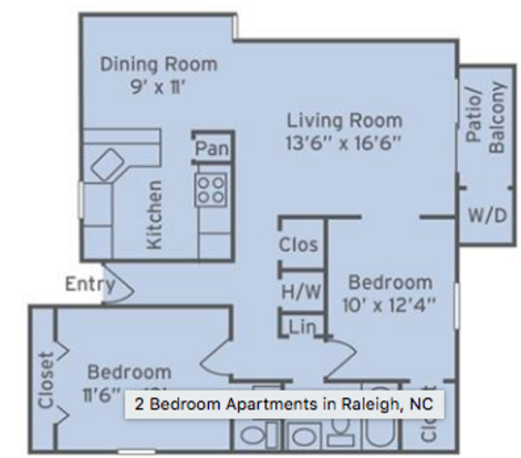 2 Bedrooms 2 Bathrooms Apartment for rent at The Villages Of Lake Boone Trail in Raleigh, NC