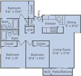 3 Bedrooms 2 Bathrooms Apartment for rent at The Villages Of Lake Boone Trail in Raleigh, NC