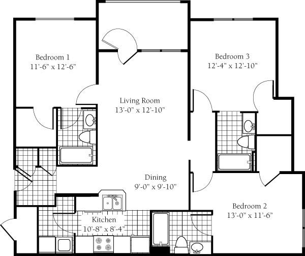 3 Bedrooms 3 Bathrooms Apartment for rent at Campus Edge- Raleigh in Raleigh, NC