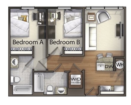 2 Bedrooms 2 Bathrooms Apartment for rent at Valentine Commons in Raleigh, NC