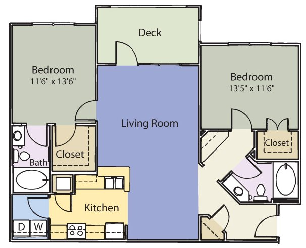 2 Bedrooms 2 Bathrooms Apartment for rent at Oaks At Weston in Morrisville, NC