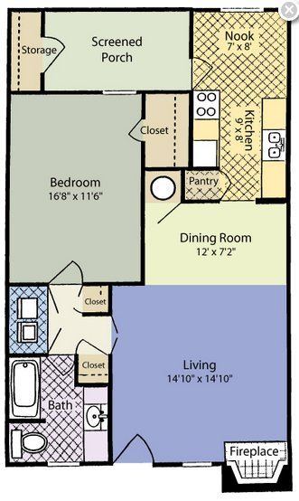 1 Bedroom 1 Bathroom Apartment for rent at Woodland Court in Raleigh, NC