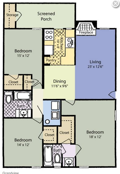 3 Bedrooms 2 Bathrooms Apartment for rent at Woodland Court in Raleigh, NC