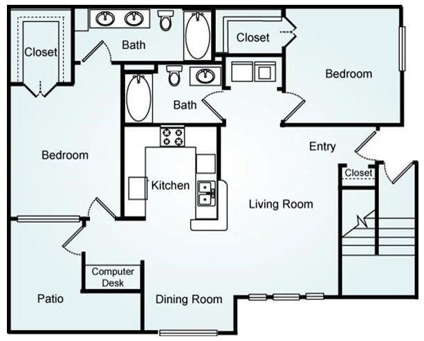 2 Bedrooms 2 Bathrooms Apartment for rent at Lodge At Mallard Creek in Charlotte, NC