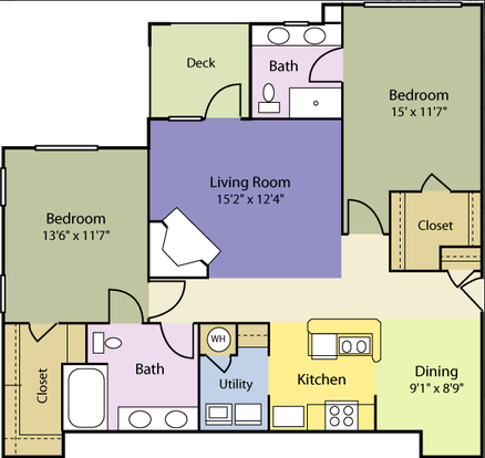 2 Bedrooms 1 Bathroom Apartment for rent at Providence Court in Charlotte, NC