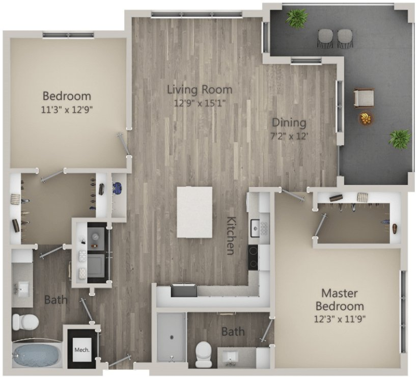 2 Bedrooms 2 Bathrooms Apartment for rent at Mayfaire Flats in Wilmington, NC