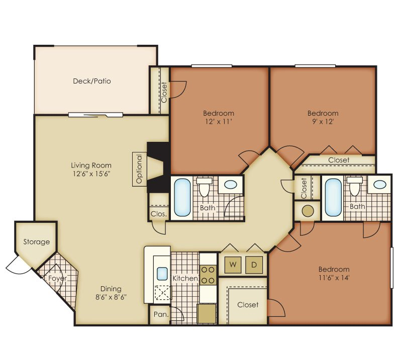 3 Bedrooms 2 Bathrooms Apartment for rent at One Norman Square in Cornelius, NC